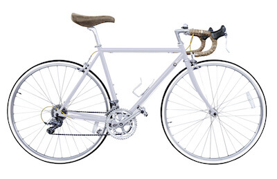 image of white road version with curved handlebars