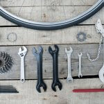 image of Essential tools bike on park bench