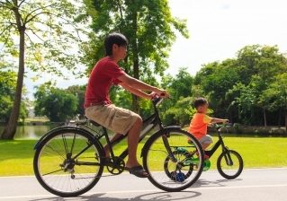 Father and son riding - best hybrid bikes