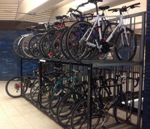 image of bikes on rack for sale