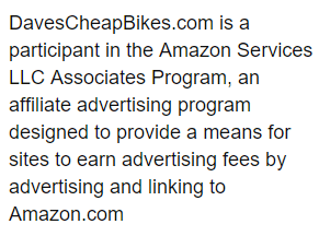 Disclaimer explaining that davescheapbikes.com is a participant in Amazon Services LLC Associates Program