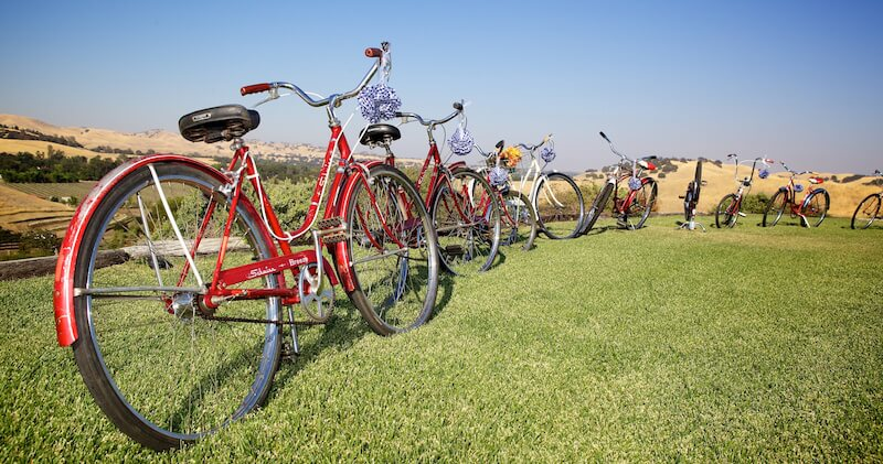 image of red bicycles parked in a line