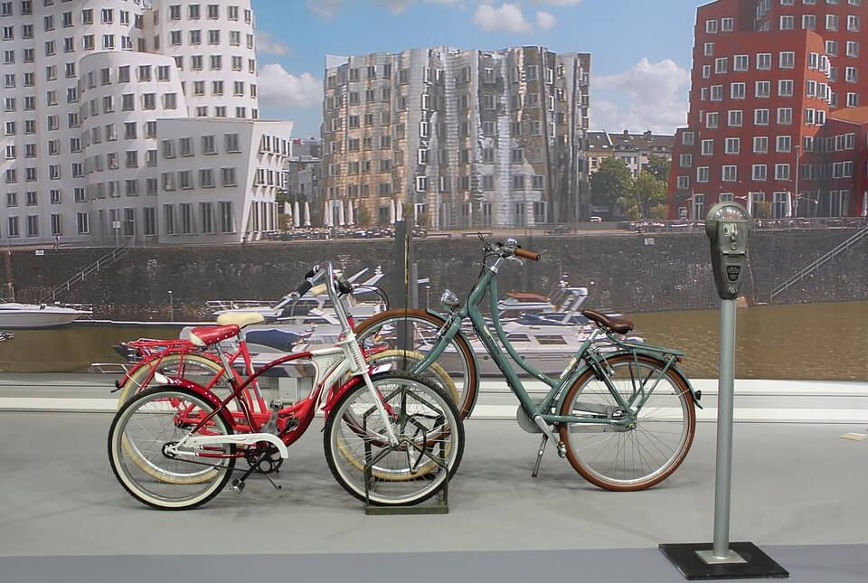bicycle parked on racks