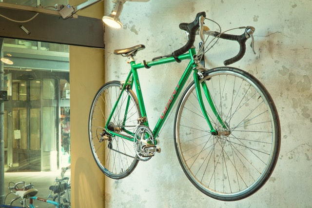 a bicycle mounted on the wall