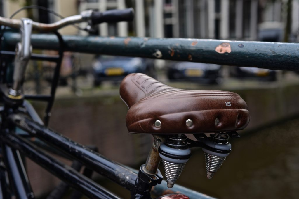 photo focused on a seat padding, a must-have bicycle accessories, installed on a bike