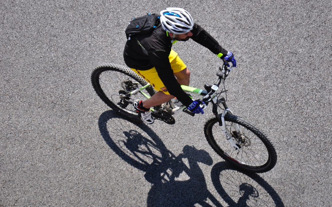 aerial view showing a cyclist using some of the most reliable bicycle accessories