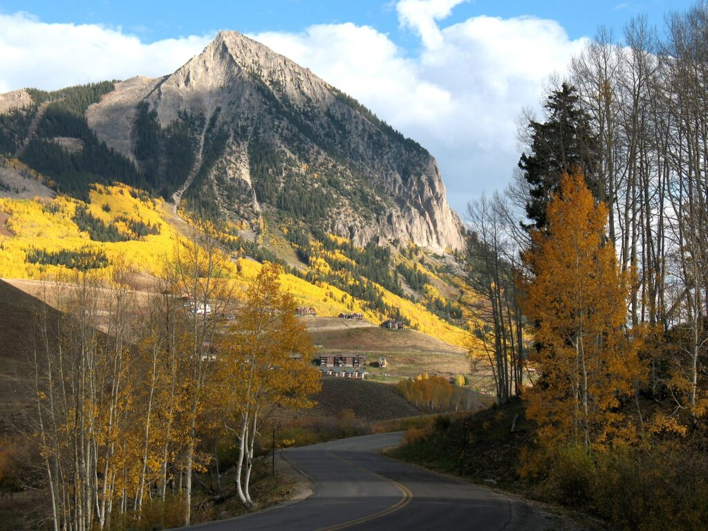 A road, village, and mountainside in Crested Butte, Colorado