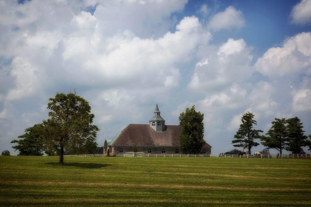 A church and horses in a field in Lexington, Kentucky