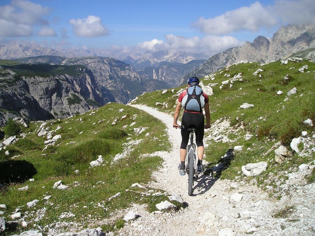 A man rides his mountain bike at one of the great destinations to bike